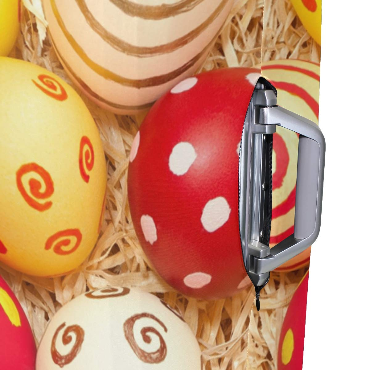 Travel Luggage Cover Easter Eggs Straw Suitcase Protector Fits 22-24 Inch Washable Baggage Covers