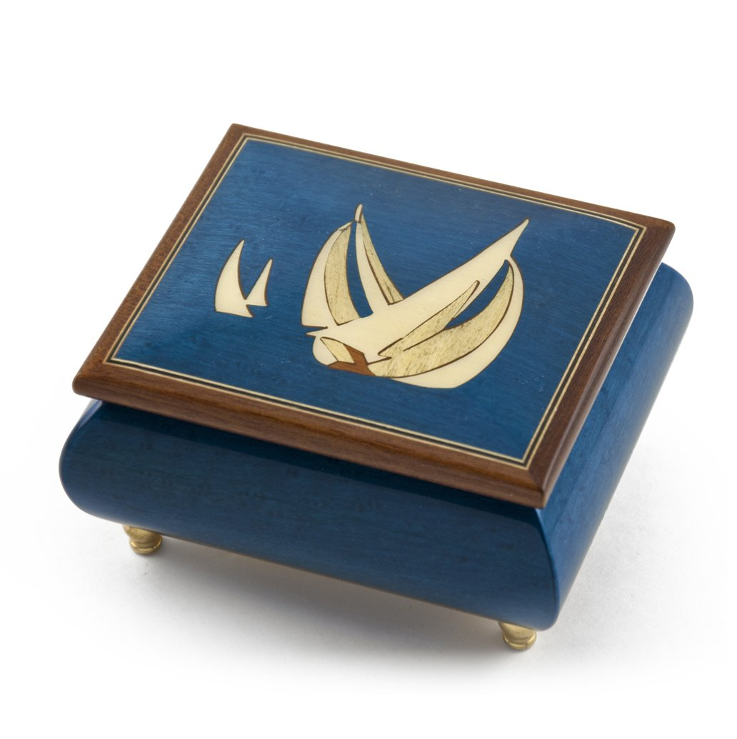 Vibrant Blue Sailboat Handcrafted Italian Music Box - Barcarolle of Hoffman by MusicBoxAttic