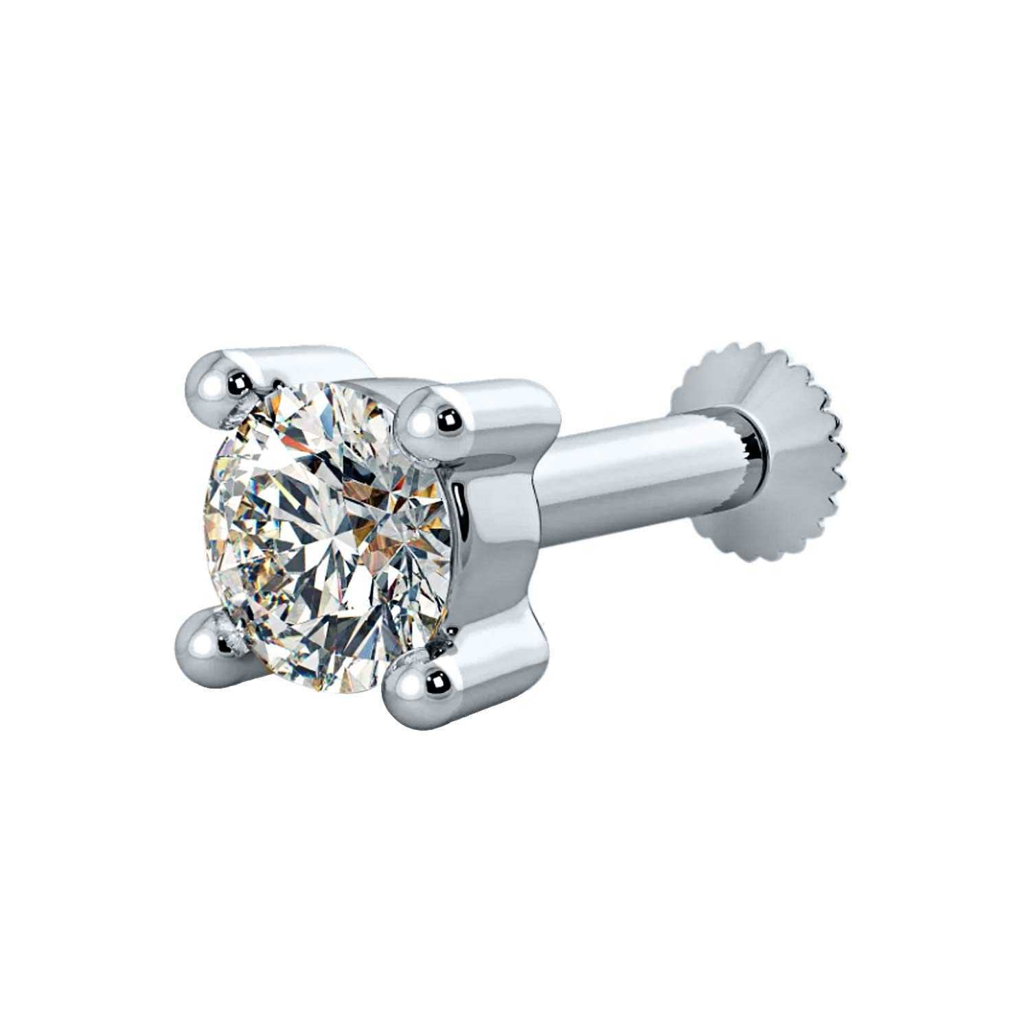 House of Kanak LLC 0.20 Ct 3.8 mm Real Diamond 4 Prong Solid 14K White Gold Screw Stud Nose Ring