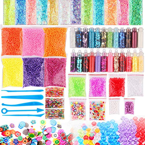 Dushi Slime Supplies Kit,DIY Slime Making Kit Include Slime Foam Beads Confetti Star and Heart Sprinkles Fruits Slices Accessories(58 Pack) -