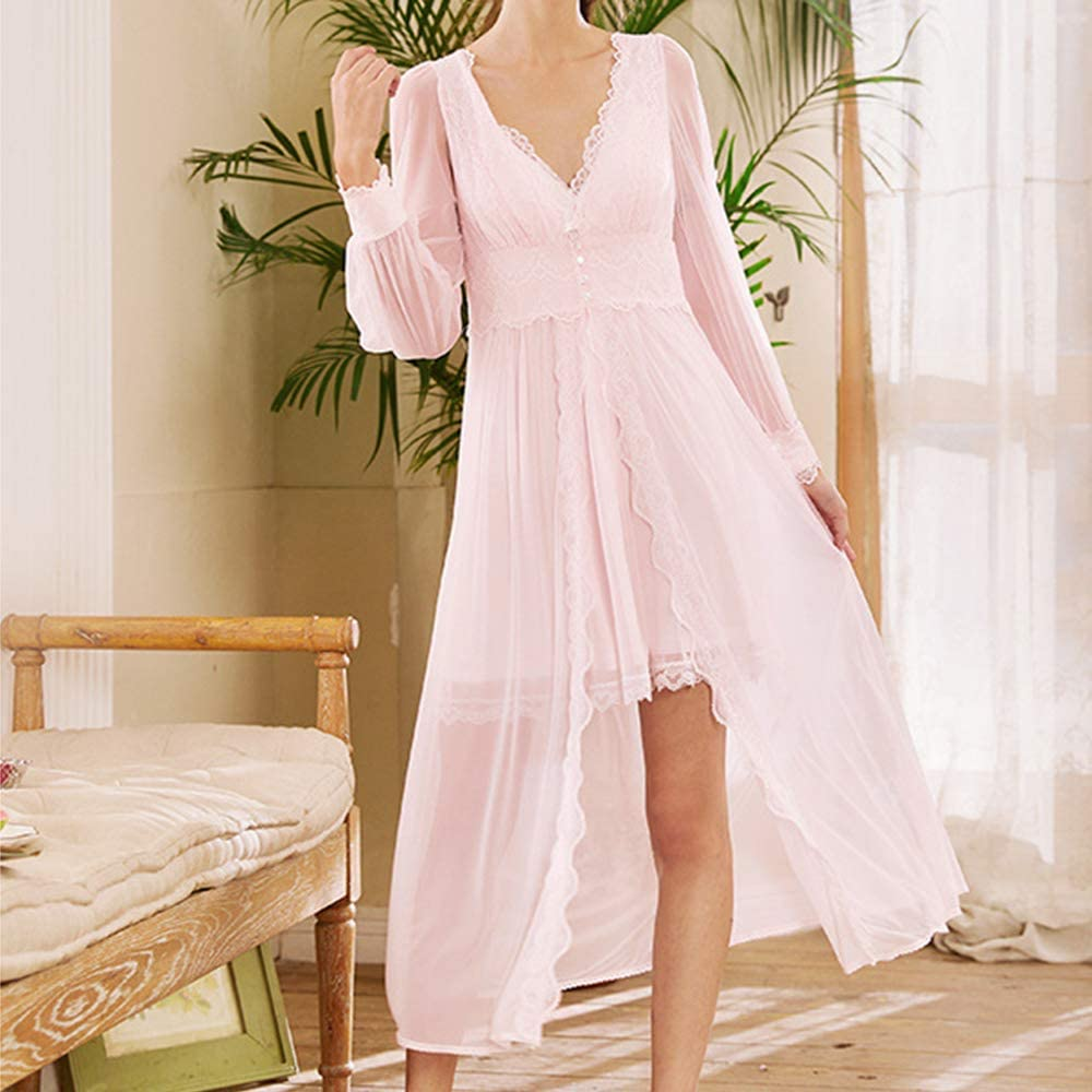 Vintage Nightgowns, Pajamas, Baby Dolls, Robes Womens Nightgown Long Sleeve Vintage Lace V-Neck Pajama Nightwear Cotton Sleepwear Lounge Dress $29.99 AT vintagedancer.com