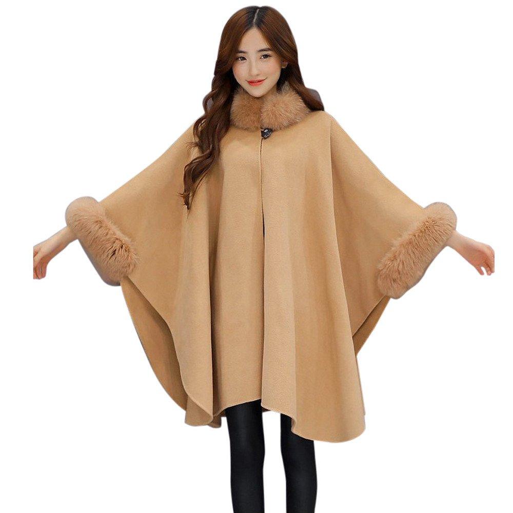 Kemilove Christmas Women Jacket Casual Woollen Outwear Fur Collar Parka Cardigan Cloak Coat