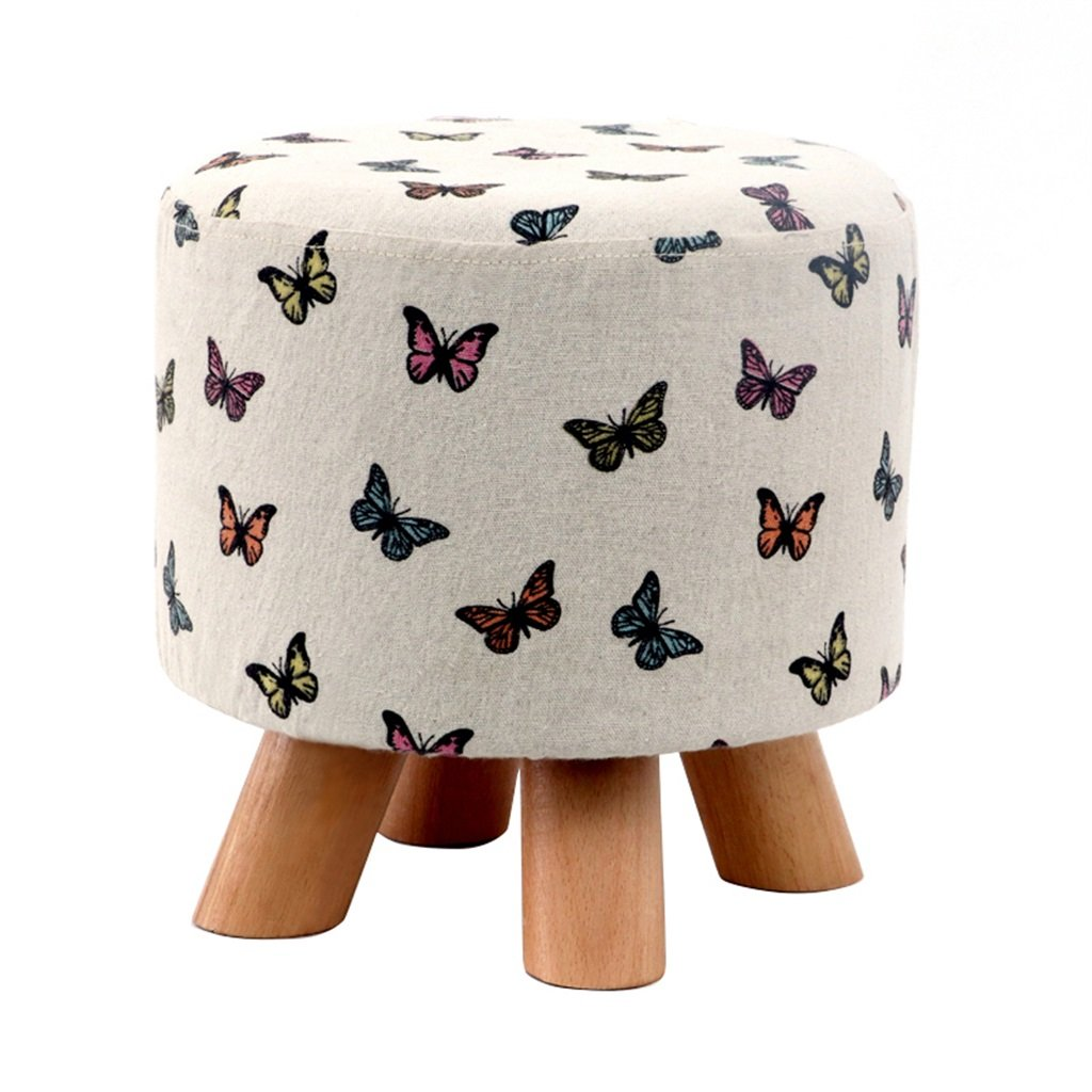 7 KXBYMX Solid Wood Home Stool Creative Living Room shoes Stool Fabric Sofa Stool Short Stool - Home Stool (color     6)