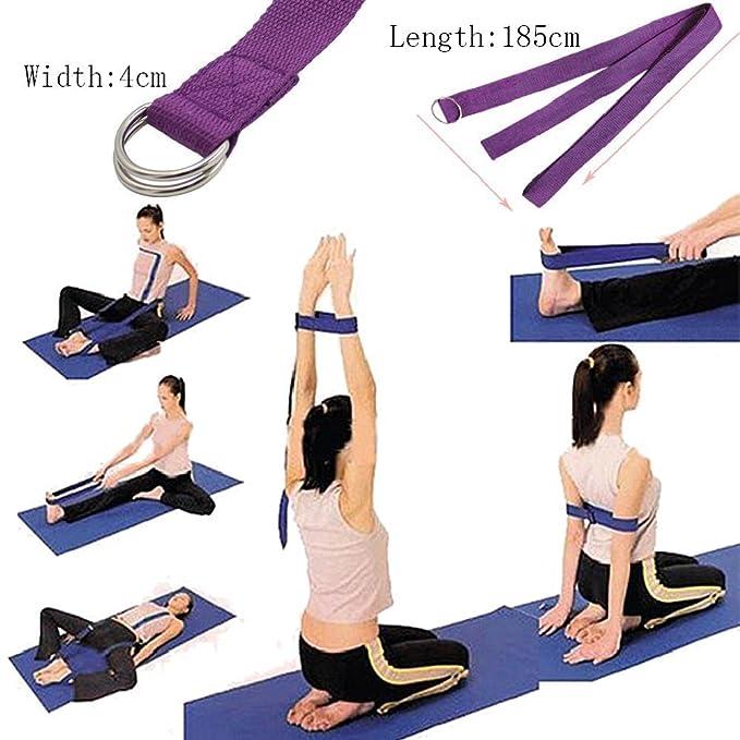 Westeng – Cinturón de Yoga Estiramiento cinturón Correa de Yoga algodón Fitness cinturón con Cierre de Metal 2 185 x 4 cm, Color Morado