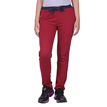 DFH Women's Cotton Track Pant Wine Track Pants & Joggers at amazon
