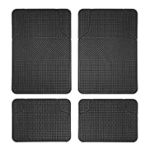 FH Group F11300BLACK Checker Style Black All Weather Floor Mat (Anti-Slip)