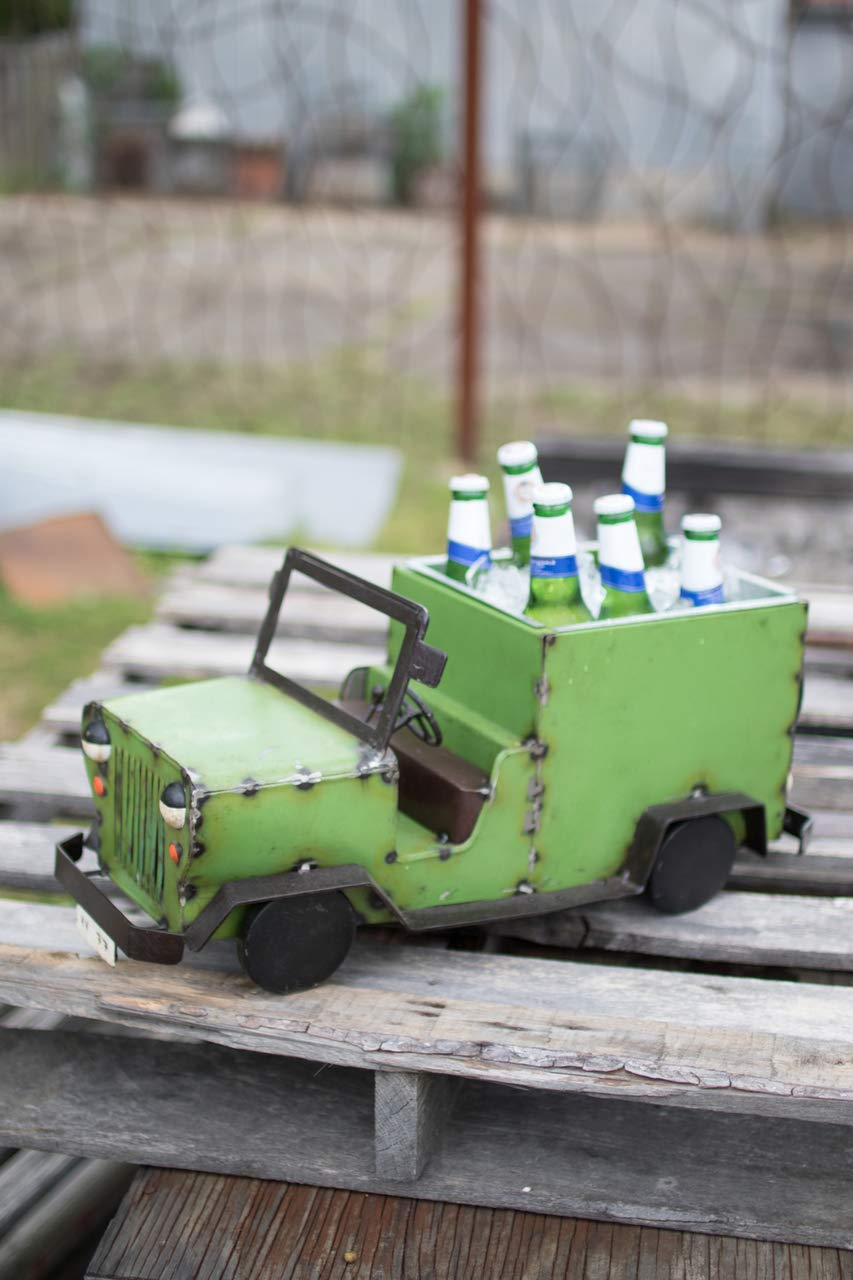 Kalalou Recycled Iron Jeep Cooler NBA2214