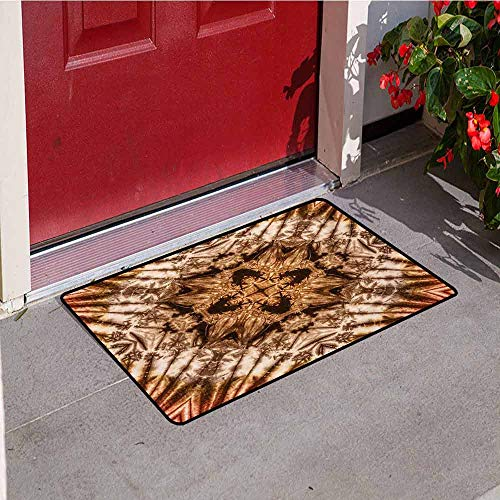 Jinguizi Tie Dye Front Door mat Carpet Sacred Object Silhouette Form Generated with Ancient Tie Dye Ink Technique Image Machine Washable Door mat W35.4 x L47.2 Inch Brown Orange