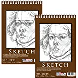 U.S. Art Supply 11'' x 14'' Premium Heavy-Weight Paper Spiral Bound Sketch Pad, 90 Pound (160gsm), Pad of 30-Sheets (Pack of 2 Pads)