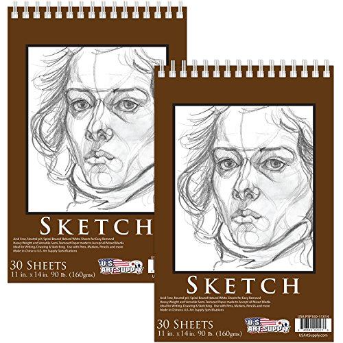 U.S. Art Supply 11'' x 14'' Premium Heavy-Weight Paper Spiral Bound Sketch Pad, 90 Pound (160gsm), Pad of 30-Sheets (Pack of 2 Pads) by US Art Supply