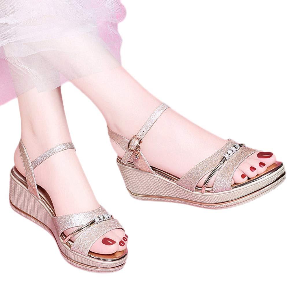 Women Sandals,Women Summer Wedges Sandals Wide Width Shoes Ladies Fashion Ankle Belt Buckle Fish Mouth Sandals