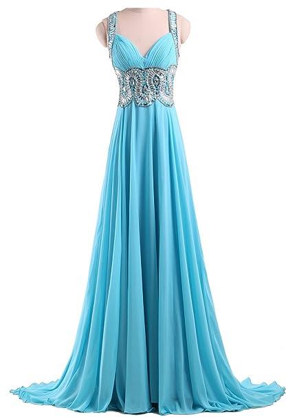 Callmelady Gasa Vestidos de Fiesta Largos para Mujer con Piedras de Strass Correas (Azul,