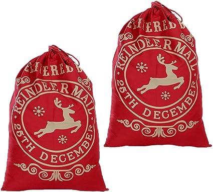 5 x Large Christmas Hessian Jute Sacks Stockings Bags Xmas