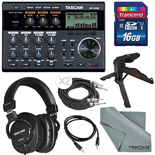 Tascam DP-006 6-track Digital Pocketstudio and Deluxe Accessory Bundle with Tascam Stereo Headphones, Table Top Tripod, SD Card, FiberTique Cleaning Cloth, and More by Tascam