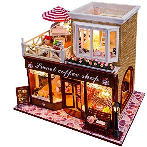DIY Led ` Sweetコーヒーショップ「ドールハウスミニチュアハウスキットwithダストカバーDIY部屋ギフトおもちゃの商品画像