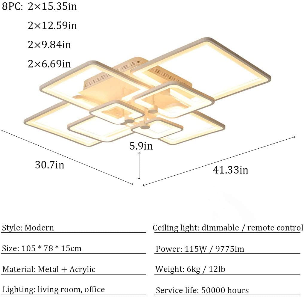 LED Ceiling Light Dimmable Acrylic Lampshade 6//8 Square Design Modern Ceiling Lights Dimmable Remote Control Ceiling Light for Living Room Bedroom Office Study Bacrek Ceiling Light 115