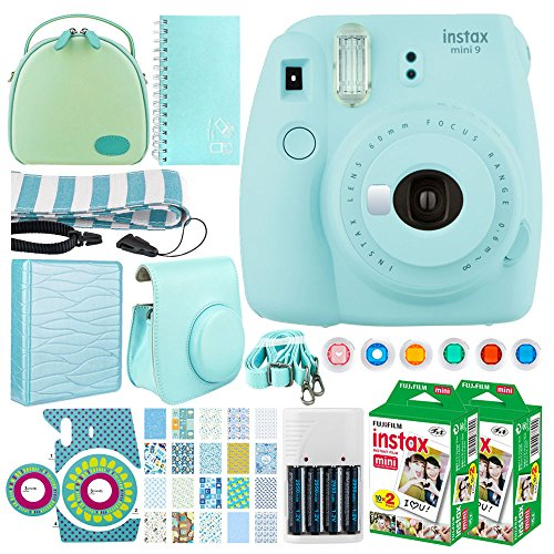 Fujifilm instax mini 9 Instant Film Camera (Ice Blue) + Fujifilm Instax Mini Twin Pack Instant (40 Shots) + Case + Scrapbook Album + Colored Filters + Camera Sticker + Neck Strap – Full Accessory Kit ()