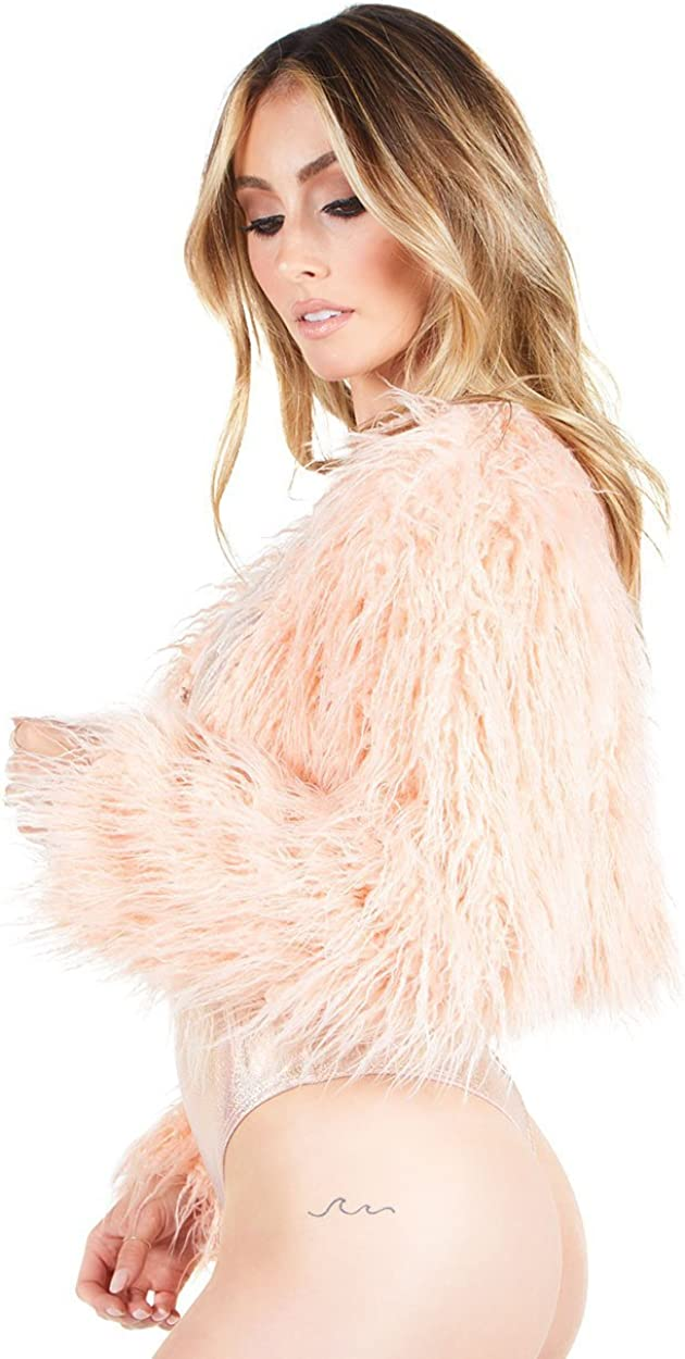 iHeartRaves Womens Fabulous Faux Fur Cropped Long Sleeve Jackets