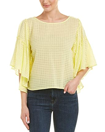 b0a39f6ff82e1e Two by Vince Camuto Women's Textured Grid Drop Shoulder Ruffle Sleeve Blouse  Lemon Cream Small