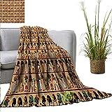 XavieraDoherty Faux Fur Throw Blanket Egyptian,Egyptology Theme Mythological Cartoon Characters Archeology History Illustration,Multicolor