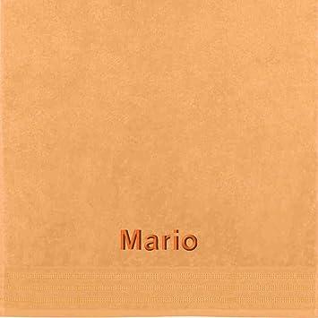 Erwin Müller Toalla con nombres Mario bordado, albaricoque, 50 x 100 cm: Erwin Müller: Amazon.es: Hogar