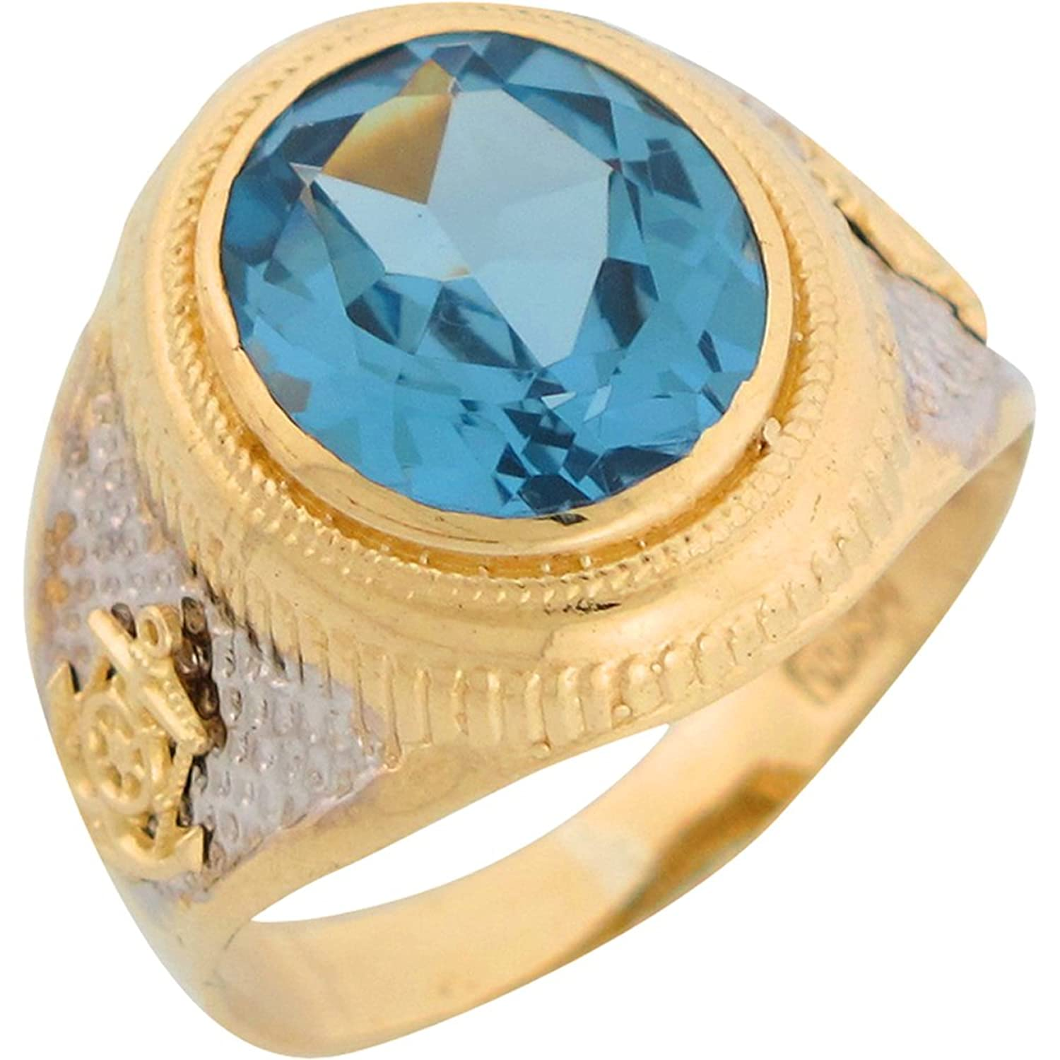 10k Two Tone Gold Simulated Blue Zircon Nautical Anchor Mens Ring