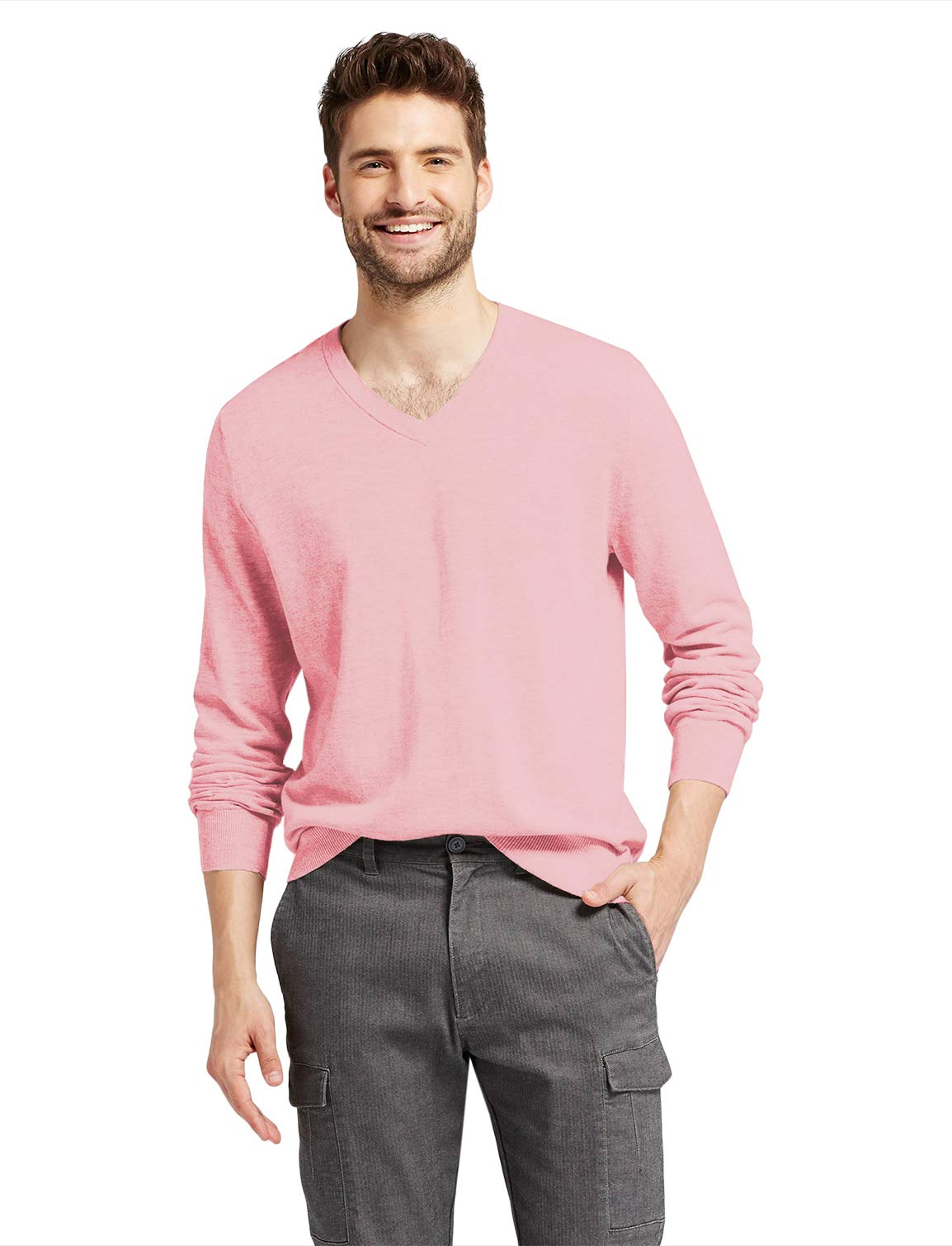 7 Encounter Men's Long-Sleeve Basic V-Neck Sweater Pink Size S