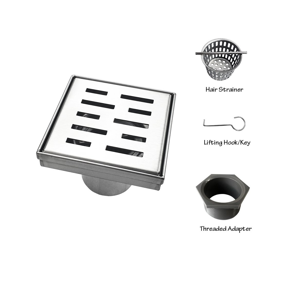Neodrain Square Shower Drain with Removable Brick Pattern Grate, 4-Inch, Brushed 304 Stainless Steel, With WATERMARK&CUPC Certified, Includes Hair Strainer by Neodrain (Image #3)