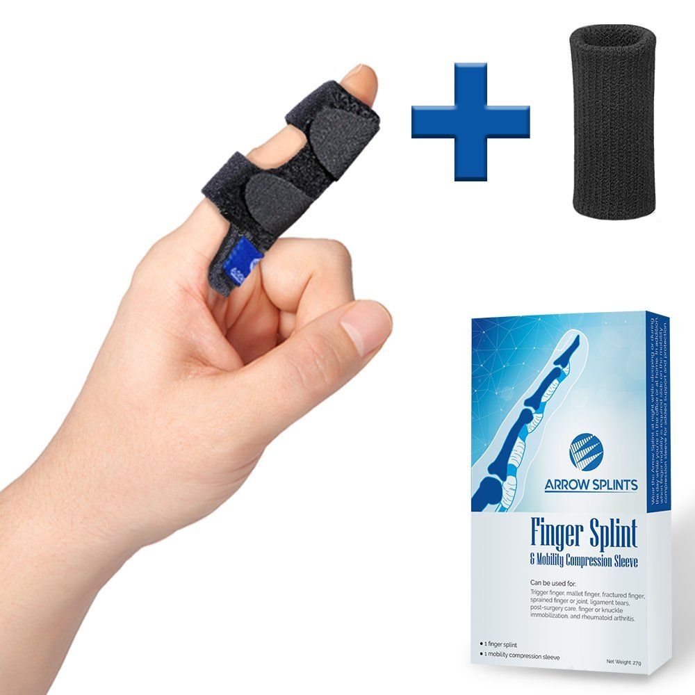 Trigger Finger Splint - Mallet Finger Brace + Finger Sleeve w/Built-in Support for Arthritis Pain, Sport Injuries, Basketball, Baseball, Volleyball, Bowling fits Index, Middle, Ring, Pinky Fingers