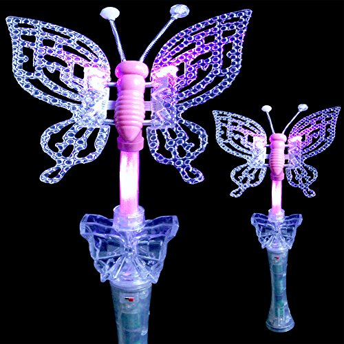 Fun Central R349, 1 Pc 20 Inches LED Multicolor Butterfly Wand with Sound, Light Up Magic Wand for Kids, Glow Stick Wand for Princess and Fairy Tale Themed Party, Costume Party -