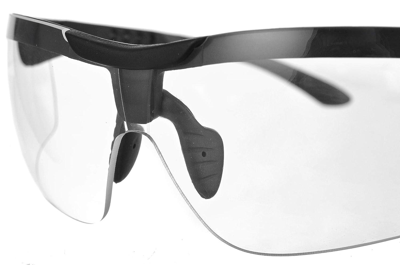 PROTEAR Anteojos de seguridad anteojos protectores para la protecci/ón ocular anteojos con lentes transparentes y agarres antideslizantes protecci/ón UV antivaho antirrayas anteojos envolventes