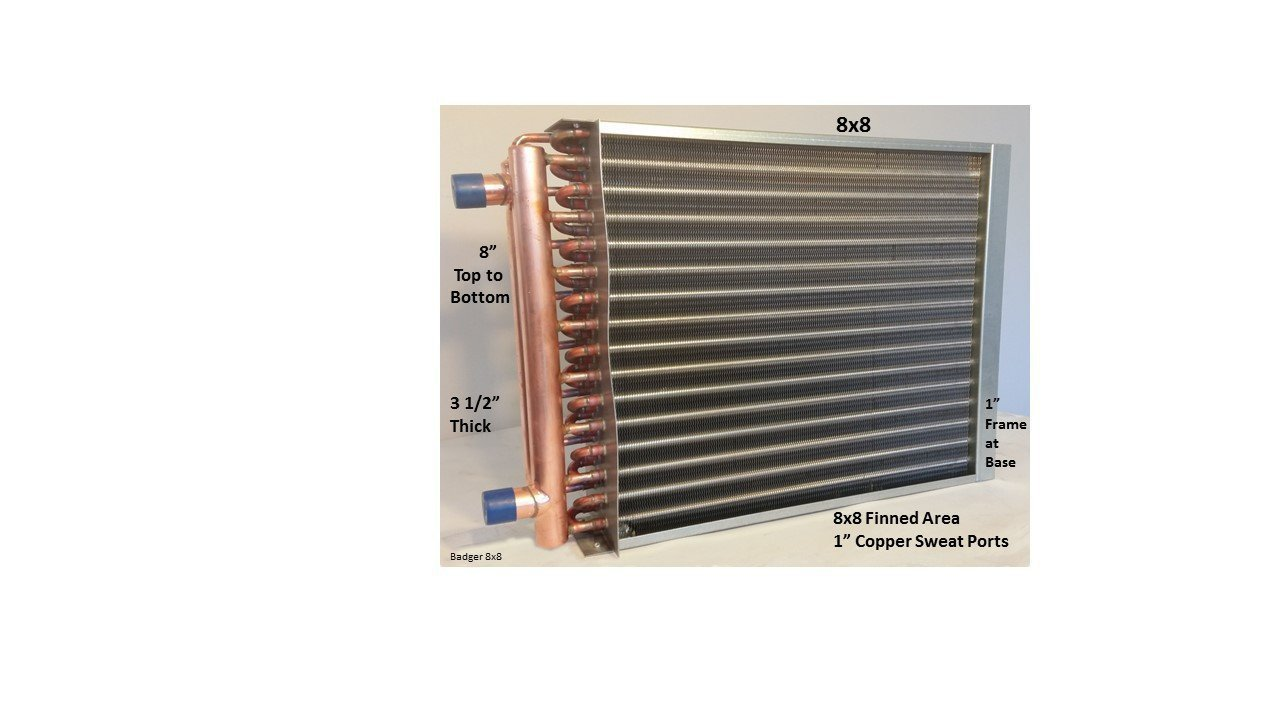 Water to Air Heat Exchanger 8X8 1'' Copper Ports w/EZ Install Front Flange