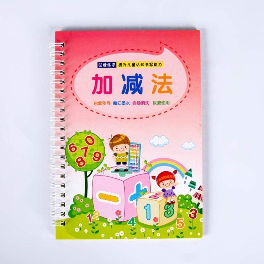 l/öschbarer Stift verblassen automatisch das Digitale Kalligraphiebuch Aifono Wiederverwendbares 3D-Lernheft f/ür Kinder 0-100 Zahlen Rillenzauber-Kalligraphie-Heft