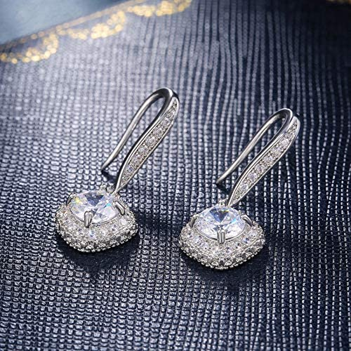 PPgejGEK Women Elegant White Jewelry Rhinestone Drop Earrings for Wedding Prom Anniversary (A)