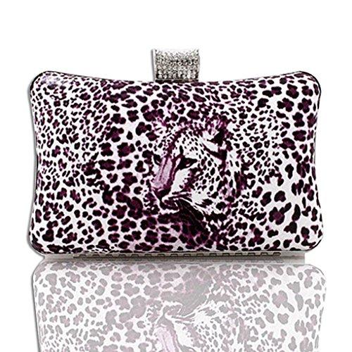 Kaxidy Fashion Leopard Evening Bag Purses Clutch Bag Handbag (Purple) by KAXIDY