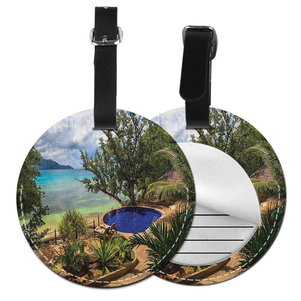 Round Leather Luggage Beach,Exotic Beach Summer Id Tag Suitcase Carry