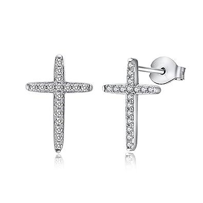 05b4ad695 Men Stud Earrings,Sterling Silver 6mm Princess Cut Clear Cubic Zirconia  Stud Earrings,Square