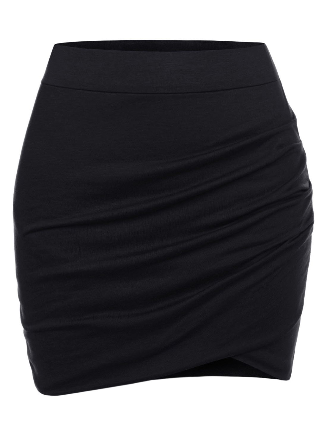 NEARKIN (NKNKSSK64) Womens Stretchy Waistband Shirring Fitted Mini Skirt BLACK US XL(Tag size 2XL)