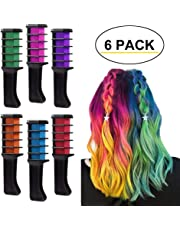 Hair Chalk Comb, Set of 6 PCS Temporary Hair Color Washable Non Toxic Mini Hair Dye Comb for Kids Teens Halloween Birthday Party Cosplay DIY