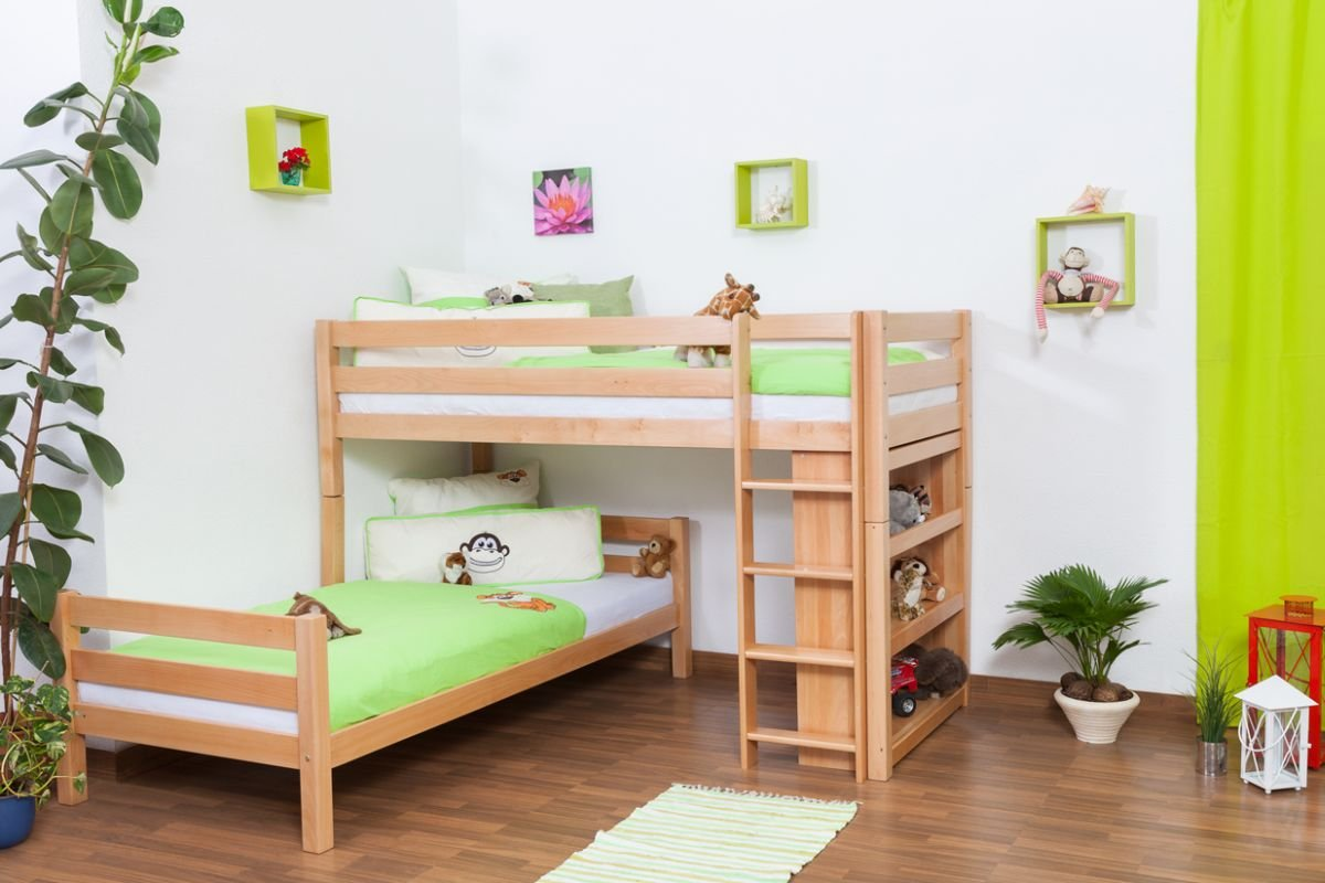 Etagenbett Moritz Buche : Kinderbett etagenbett moritz l buche vollholz massiv natur mit