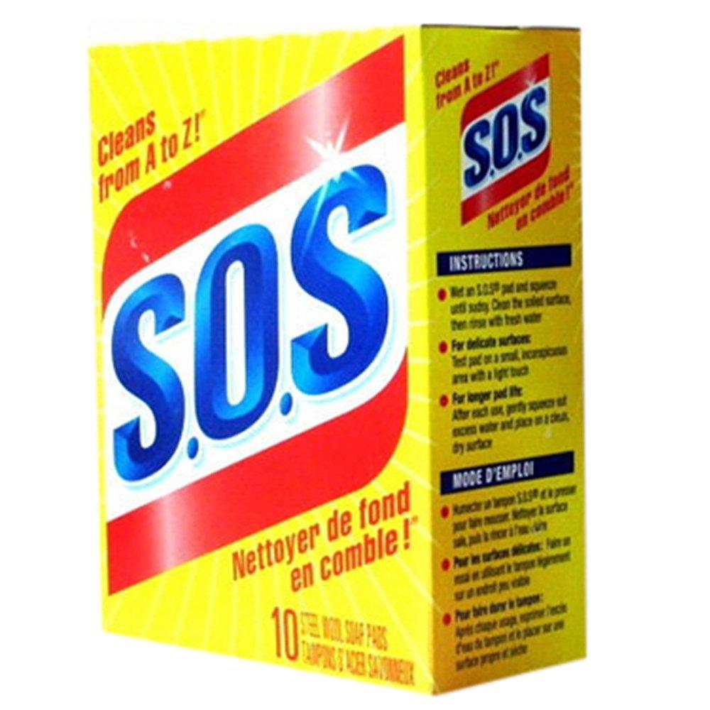 SOS Steel Wool Pads (10 Pads In 1 Pack) 931012 S.O.S.
