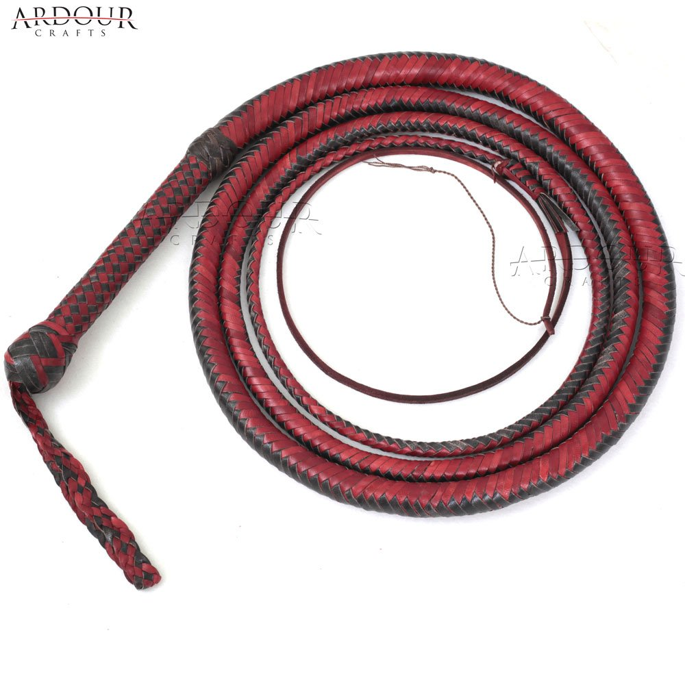 BULL WHIP 10 Feet 16 Plaits Cow Hide Leather CUSTOM BULLWHIP Belly and Bolster Construction Dark Brown by Ardour Crafts