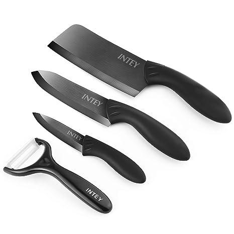 INTEY Cuchillo de Cerámica Cuchillos Cocina con Chaqueta Protectora Set Cuchillos Juego Cuchillos de Cerámica con 4 Piezas, Negro