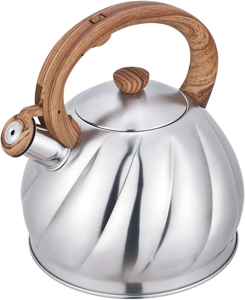 Riwendell Tea Kettle 2.1 Quart Whistling Stainless Steel Stove Top Teapot GS-04044AHY-2.0 L
