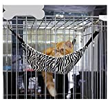 Cheap Greenery Fashion Soft Comfort Warm Hanging Large Hammock Sleeping Nap Bed Wild Time Funny Cage Pad Cushion Mat for Pet Cat Kitten, 5338cm (Zebra Strips)