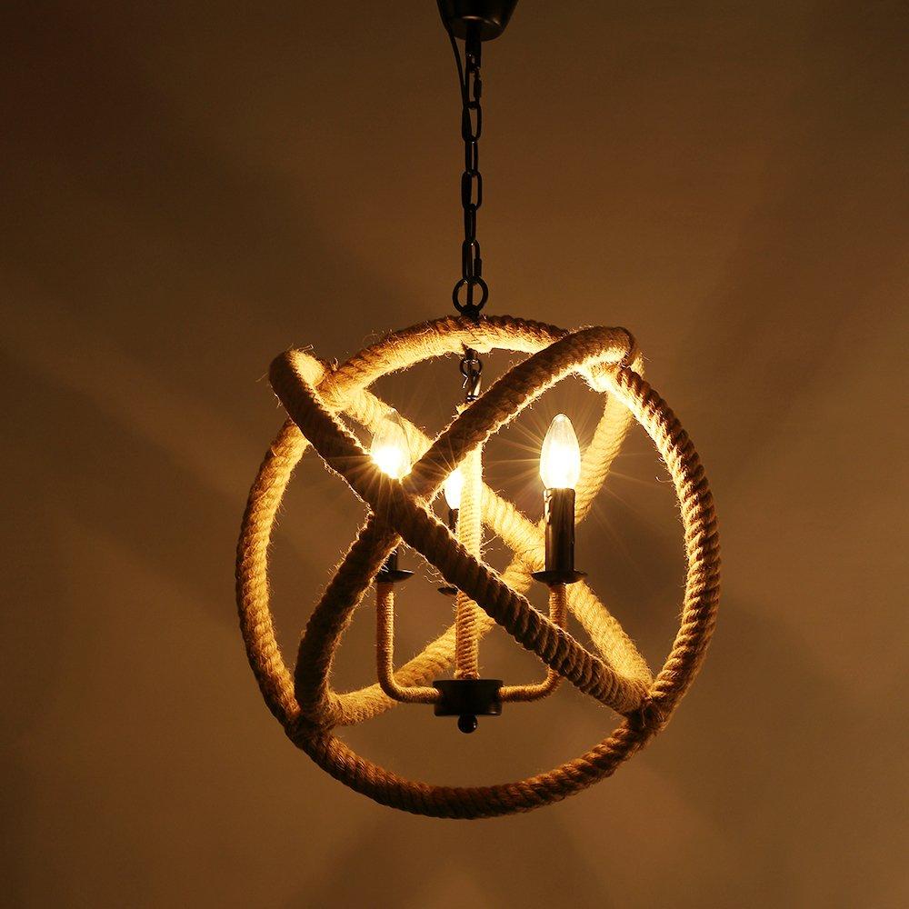 Lixada 3 brazos Retro Cuerda de cáñamo luces de techo en ...