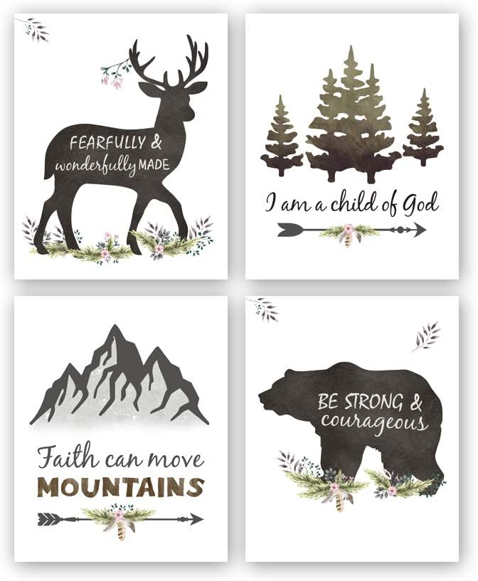 "Kairne Woodland Inspirational Quote Art Print,Forest Animals Bible Verse Canvas Poster Picture,Set of 4(8""x10"",Unframed) Watercolor Nursery Wall Art for Kids Room Decor"