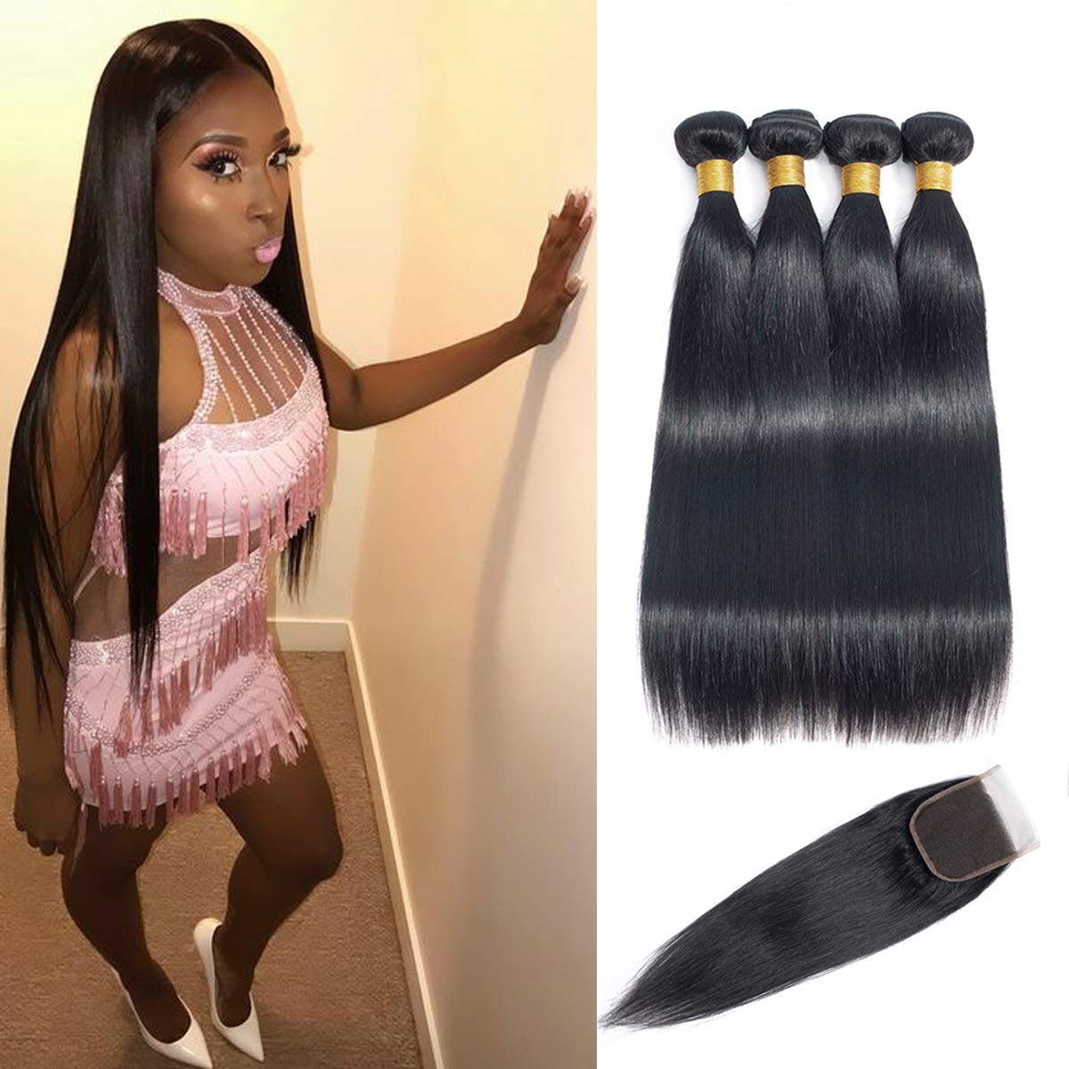 Brazilian Virgin Hair Straight Bundles with Closure Double Weft Human Hair Bundles With Closure 9A Mink Brazilian Hair With Closure Free Part(22'' 24'' 26'' 28'' with 20'')