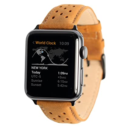 Wellfit Genuine Leather Replacement Band Compatible with Apple Watch Series 4 (44mm) Series 3 Series 2 Series 1 (42mm) Nike Sport and Edition, ...