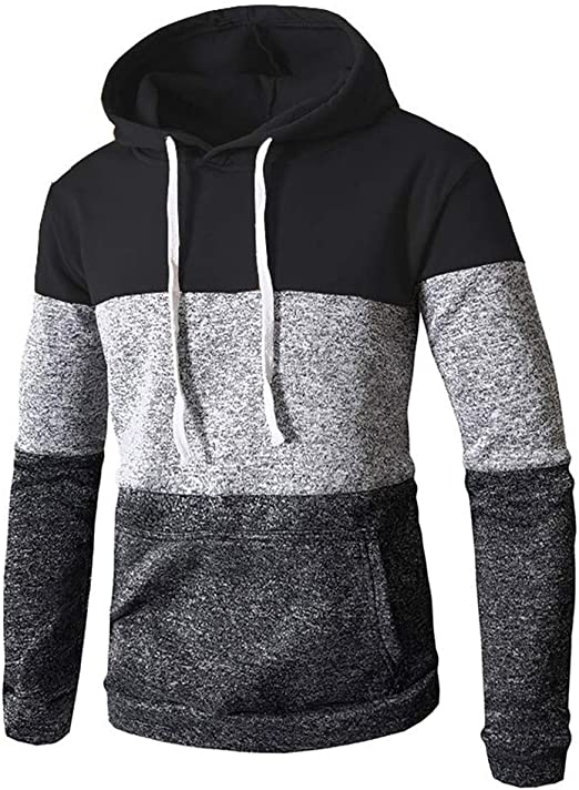SFE Mens New Casual Fashion Patchwork Pocket Drawstring Hoodie Ultra Soft Letter Print Long Sleeves Sweatershirt Tunic
